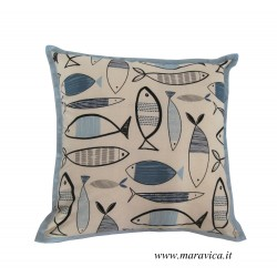 Throw pillow in cotton fish turquoise edge made handmade...