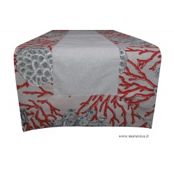 Table runner in red coral...