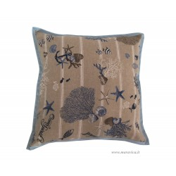 Throw pillow in cotton coral and fish handmade made in Italy