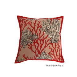Decorative cushion in red coral cotton handmade made in...