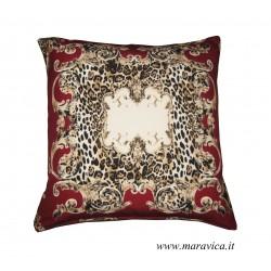 Cuscino arredo cm 50x50 tessuto stampa animalier e alcantara