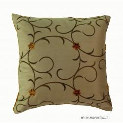 Cuscino arredo divano velluto e taffetà fantasia floreale