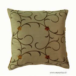 Velvet and taffeta throw pillow with flowers luxury home...