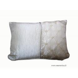 Cuscino arredo elegante velluto e taffetà di seta  avorio