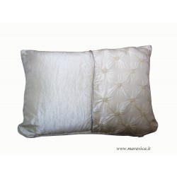 Luxury throw pillow silk taffeta and ivory velvet
