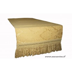 table runner damask gold  with fringe made in Italy...