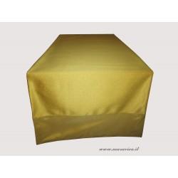 Runner da tavolo color oro in tessuto damasco e taffetà