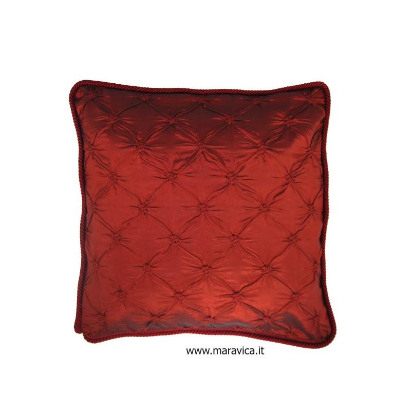 Elegant Luxury Bordeaux Furniture Pillow Cushion In Capitonné Silk Taffeta  Handmade Made In Italy