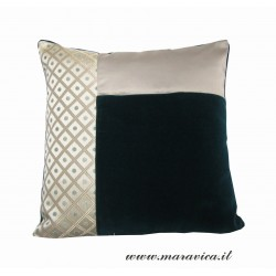 green velvet and damask throw pillow made in Italy