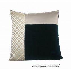 Cuscino arredo elegante velluto verde e lampasso a rombi