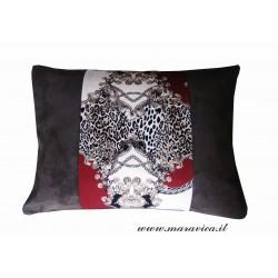 Cuscino arredo tessuto stampa animalier e alcantara