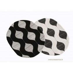 Set 2 Tovagliette americane ovali in cotone bianco e nero...