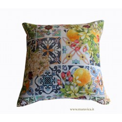 Throw pillow in cotton majolica print and flowers sicily...