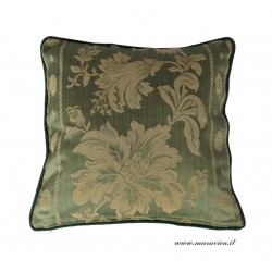 Cuscino arredo divano verde e oro fantasia floreale