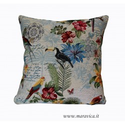 Gobelin throw pillow tropical style with flowers and birds