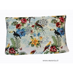 Gobelin decor rectangular cushion esotic jungle style