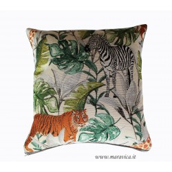Gobelin throw pillow with flowers and birds jungle style