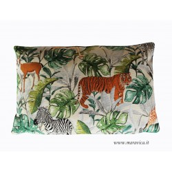 Cuscino arredo gobelin fantasia tropicale animali