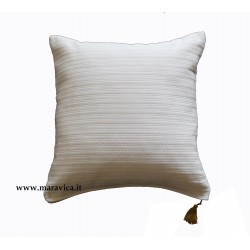 Cuscino arredo in cotone bianco panna
