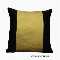 cuscino arredo nero e oro raso di cotone e damasco cm 40x40