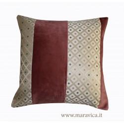 Cuscino arredo velluto rosa a rombi oro
