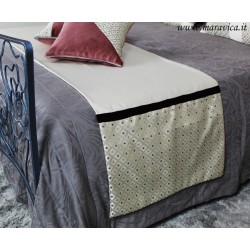 Diamond bed runner with gold background and bordeaux...
