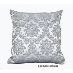 Cuscino arredo classico elegante damasco grigio perla
