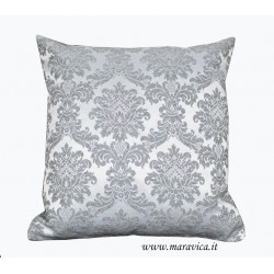 Pearl gray damask throw pillow luxury
