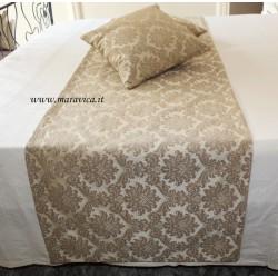 Runner da letto elegante in damasco biege motivo barocco