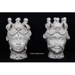 Sicilian Moorish heads ivory Ceramic Caltagirone