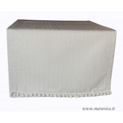 Runner tavolo boho in cotone bianco panna e bon bon