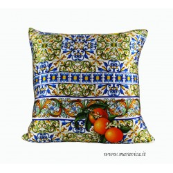 Cushion pure silk print majolica and lemons
