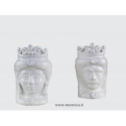 Teste di moro bianche piccole in ceramica di Caltagirone
