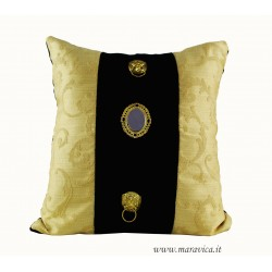 Black and gold Sicilian baroque throw pillow with masks...