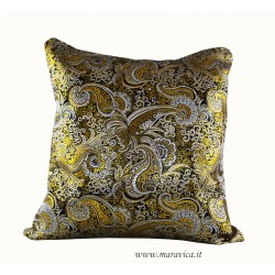 Throw pillow black, gold and silver