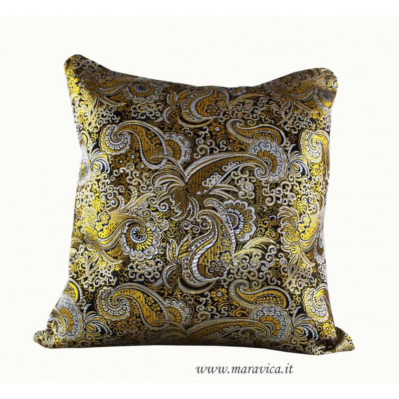 Cuscini Oro.Cuscino Arredo Barocco Siciliano Nero E Oro