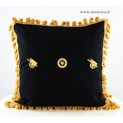 Black and gold throw pillow sicilian cart with trimming