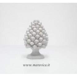 White ceramic sicilian pine cone handmade in Caltagirone