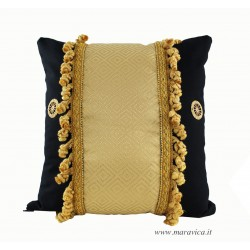 Throw pillow black and gold Sicilian cart with trimming