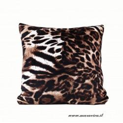 Cuscino arredo in velluto fantasia leopardo