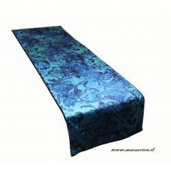 Runner da letto in velluto e pile stampa barocco verde...