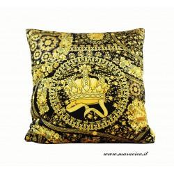 Throw pillow velvet black and gold baroque print