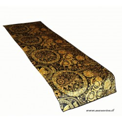 Blanket bed runner in velvet and baroque print black and...