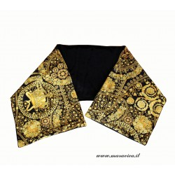 Woman scarf in black and gold baroque print velvet