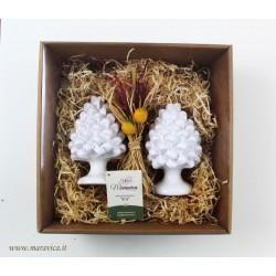 White ceramic sicilian pine cones handmade in Caltagirone...