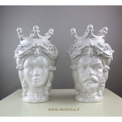 White Moorish heads  sicilian Ceramic Caltagirone