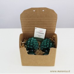Green pine cones h 10 cm in Caltagirone ceramic in a gift...