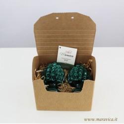 Pigne verdi in ceramica siciliana di Caltagirone set di...