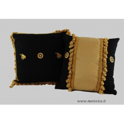 Throw pillows black and gold sicilian cart wheel set of two