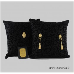 Throw pillows velvet sicilian baroque black and gold set...